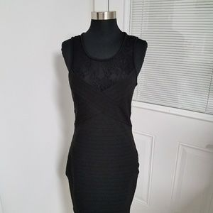 Guess Bodycon Dress With Lace- Black